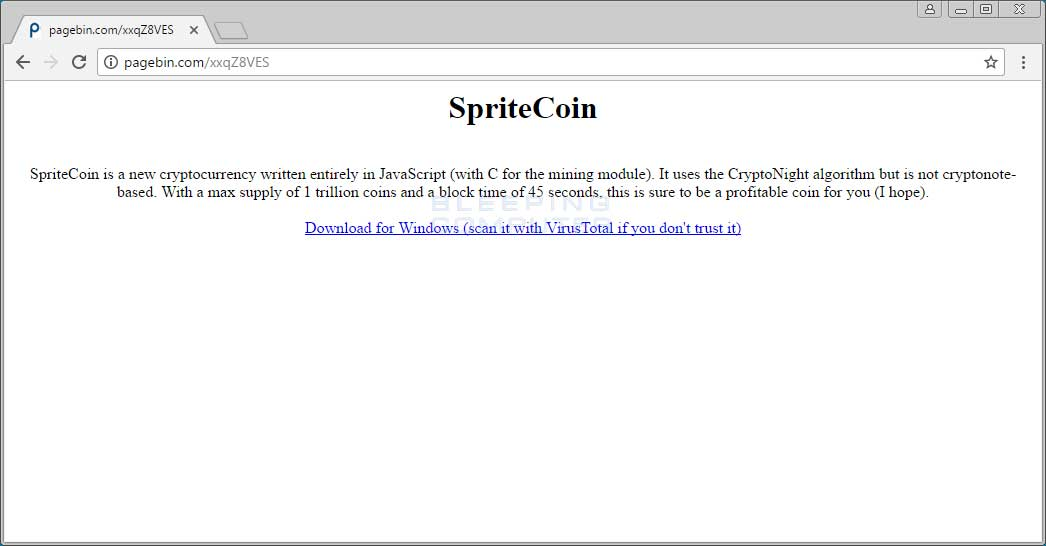 MoneroPay fake spritecoin site
