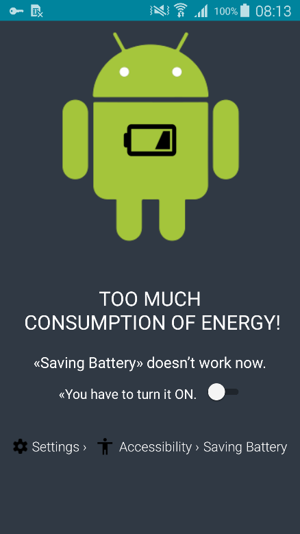 Pop up screen requesting Saving Battery after install